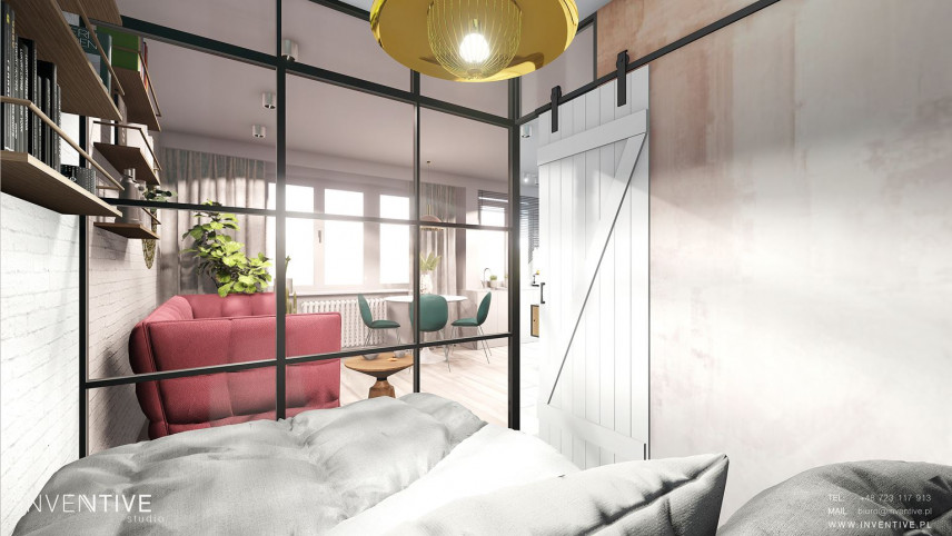 Widok na salon z sypialni