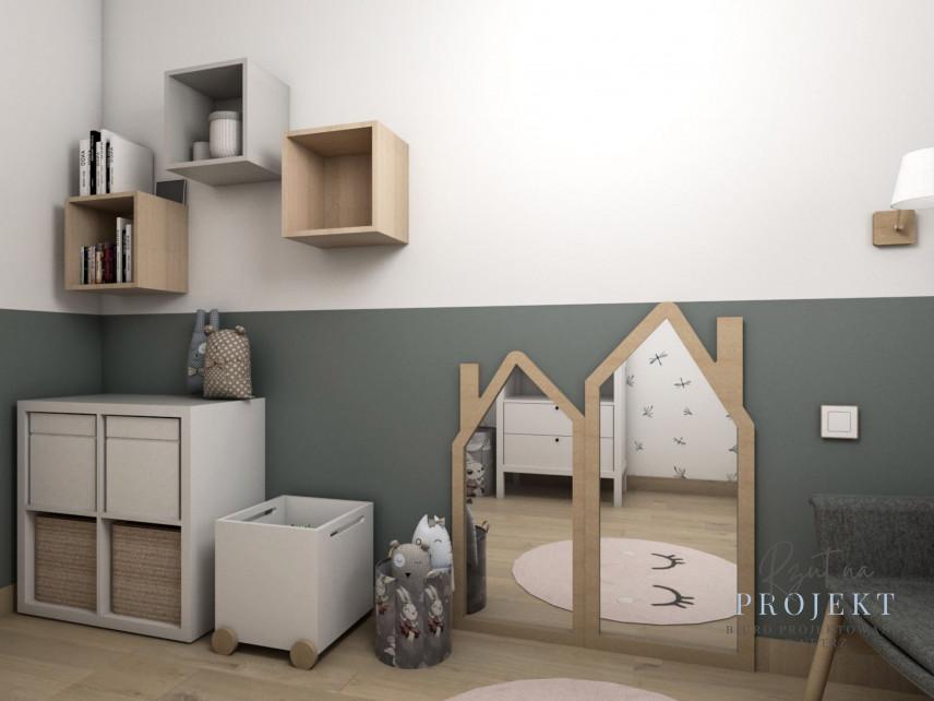 Stonowany pokój dziewczynki z meblami