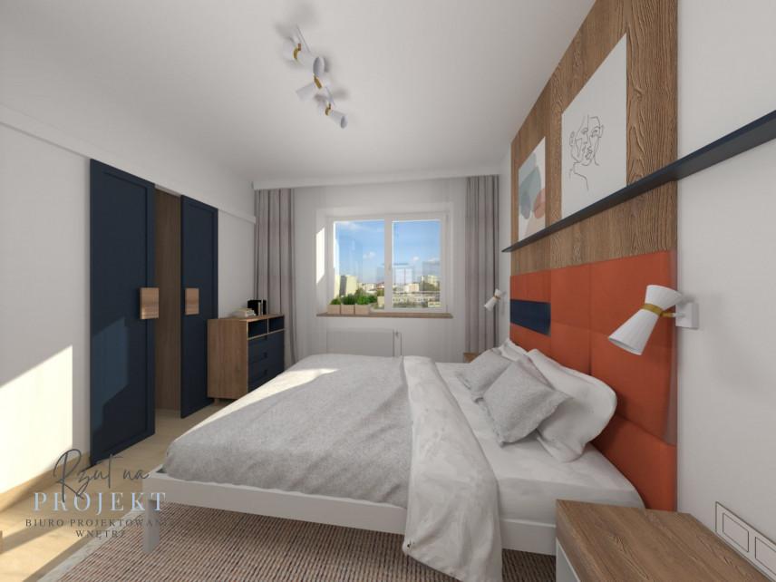 Sypialnia w stonowanych, kontrastowych kolorach