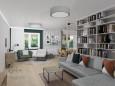 Salon w stylu klasycznym z biblioteką