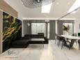 Stylowy salon z designerskimi lampami w stylu Art Deco