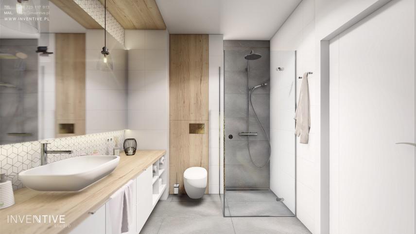 Łazienka z biało-drewnianymi płatkami i szarą podłogą