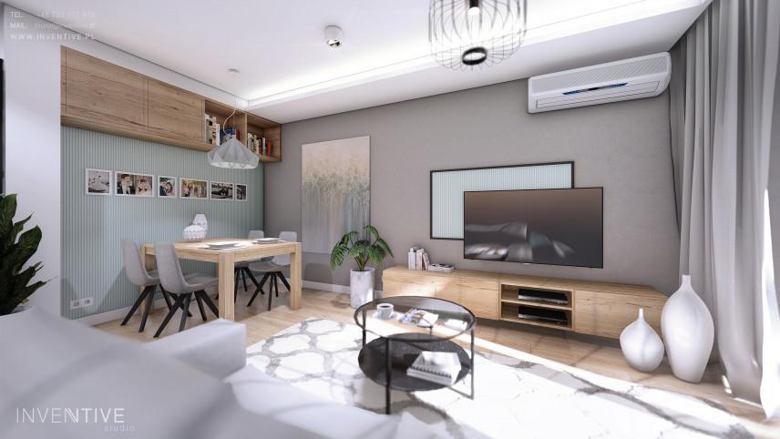 Mieszkanie z drewnianymi meblami