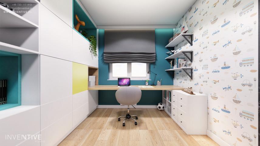 Wąski pokój chłopca z biurkiem i szarą roletą rzymską