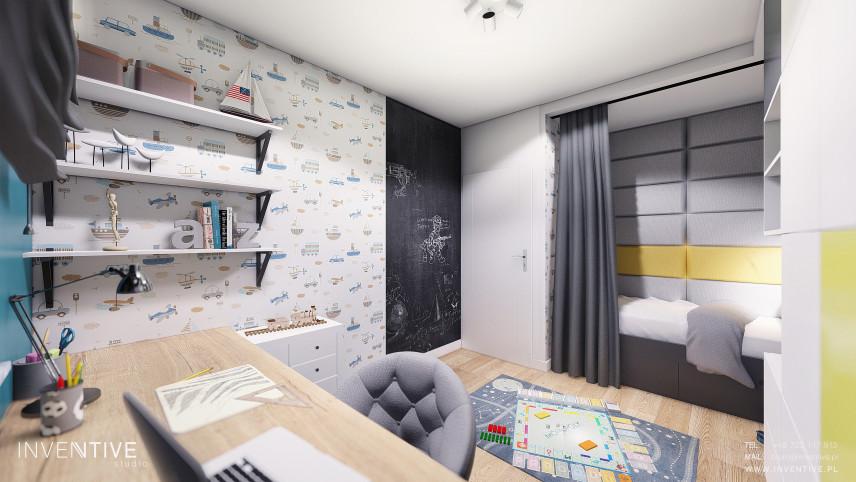 Pokój chłopięcy z farbą tablicową na ścianie