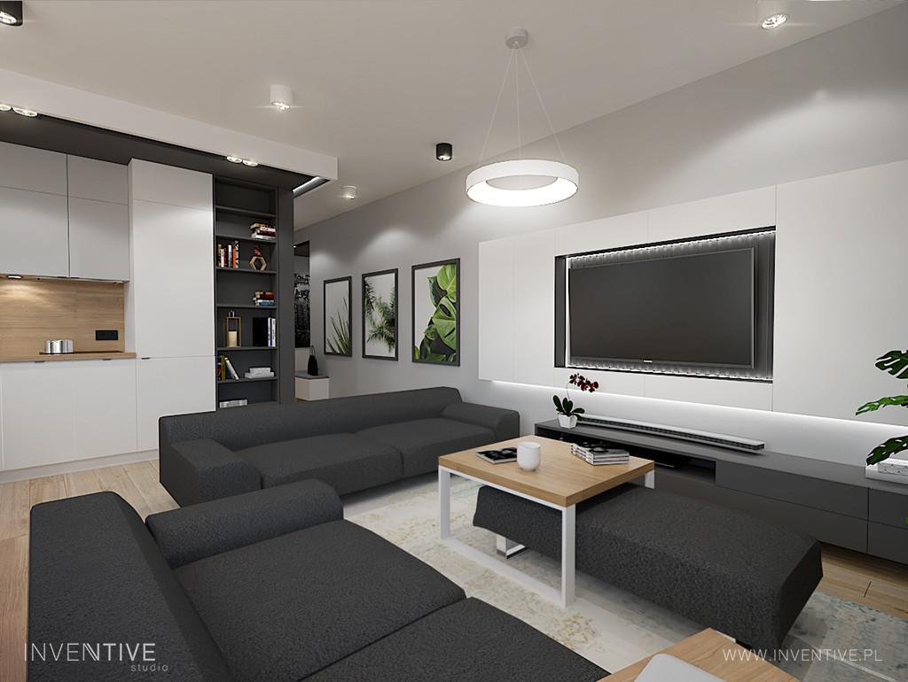 Salon z szarymi sofami