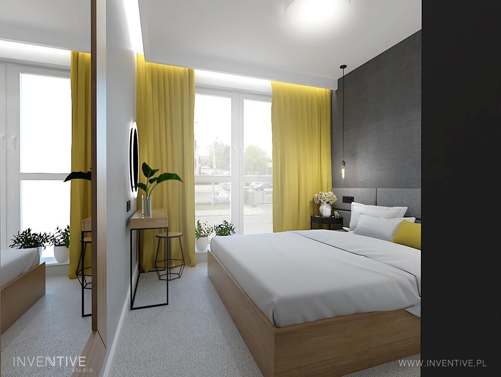 Sypialnia z żółtymi zasłonami
