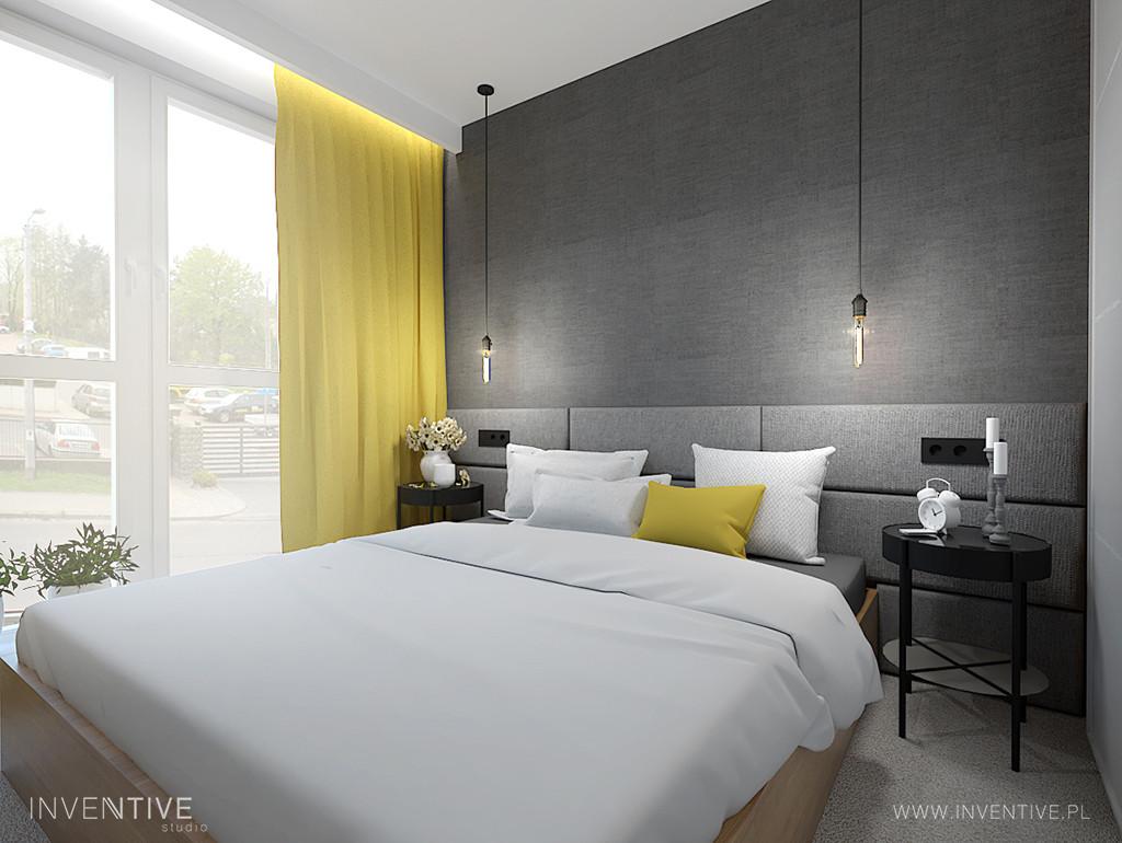 Słoneczna sypialnia z łóżkiem kontynentalnym