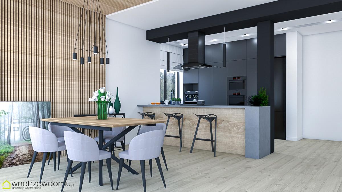 Kuchnia z drewnianym barem