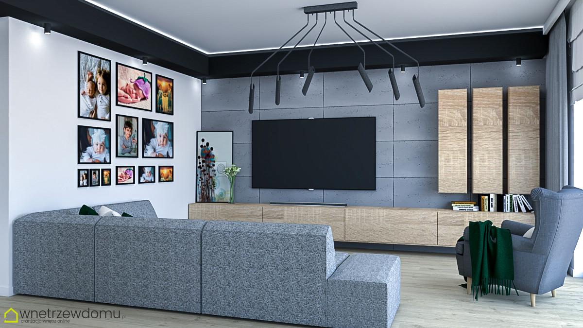 Stylowy salon z telewizorem na ścianie