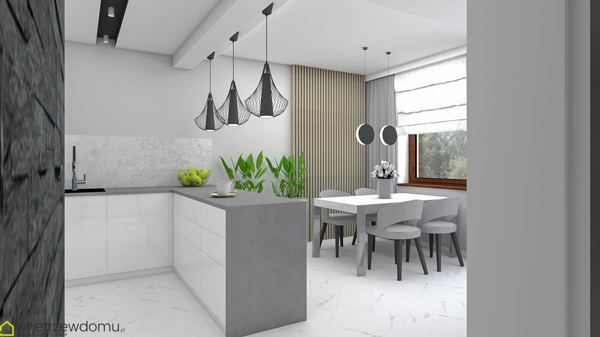 Aneks kuchenny z czarnymi lampami wiszącymi