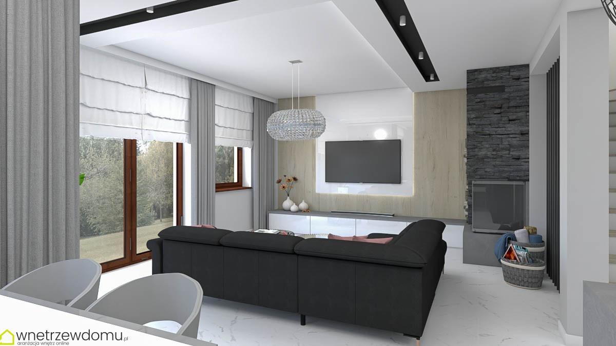 Projekt salonu z kominkiem narożnym i telewizorem na ścianie