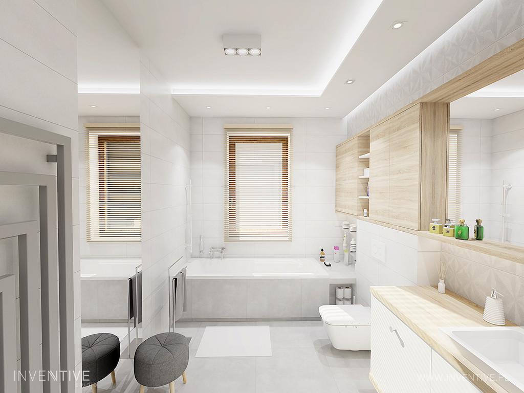 Aranżacja łazienki w stylu klasycznym z wanną w zabudowie