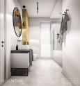 Projekt łazienki z białą szafką stojącą