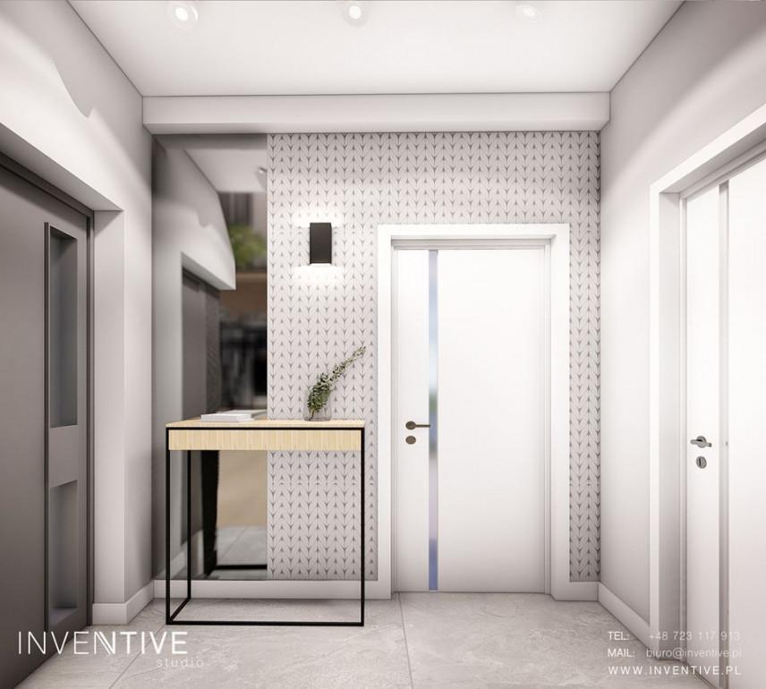 Projekt przedpokoju z białymi ścianami