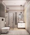 Łazienka z wzorzystymi płytkami w kolorze czarno-białym