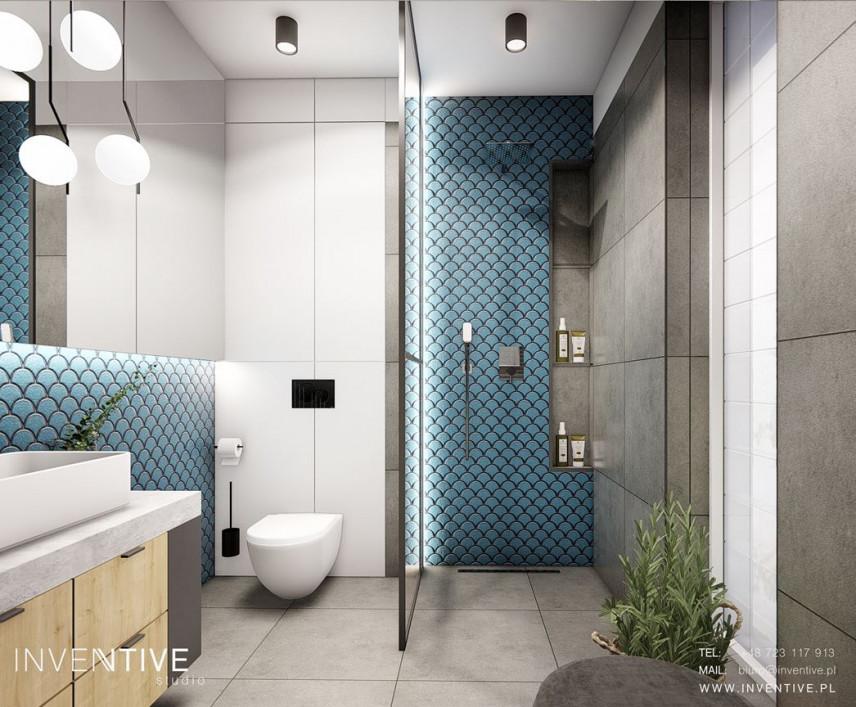 Projekt łazienki z płytkami szarymi i turkusowymi