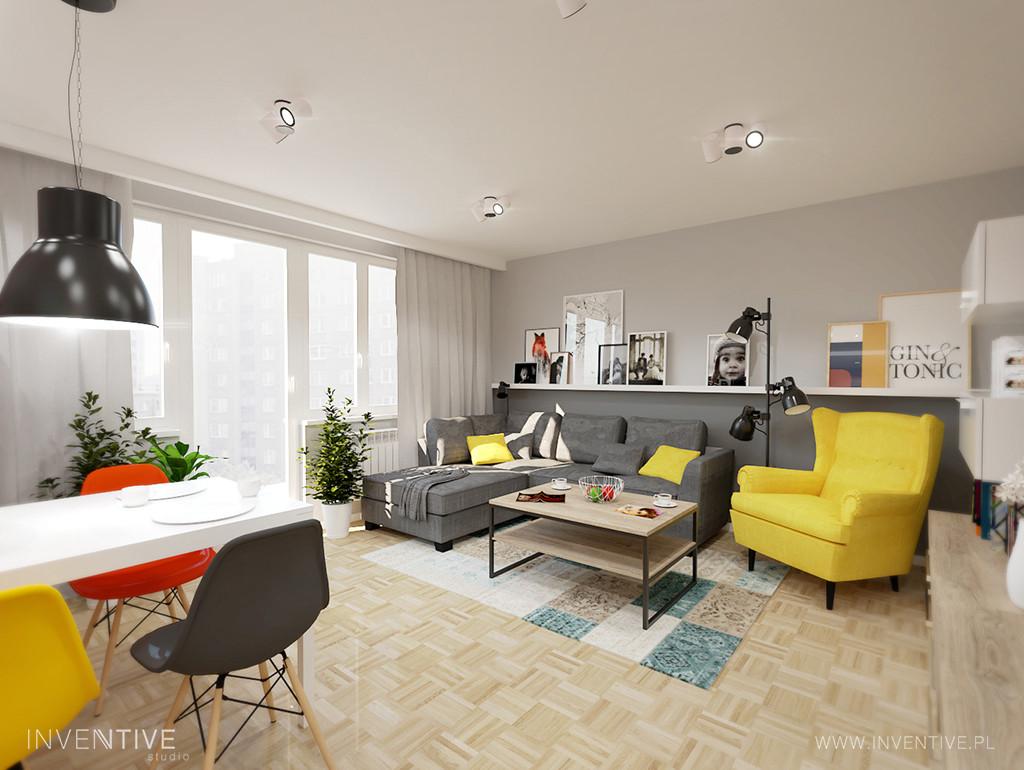 Salon w stylu retro z żółtym fotelem uszak
