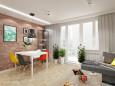 Salon w stylu retro z drewnianym parkietem
