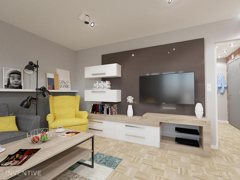 Aranżacja salonu w stylu retro z telewizorem na ścianie