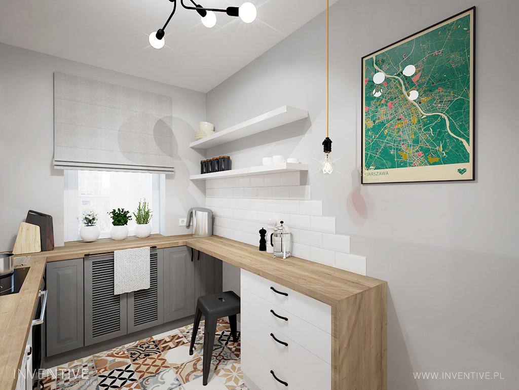 Aranżacja kuchni w stylu retro z oknem nad blatem