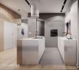 Projekt kuchni z białą i drewnianą wyspą