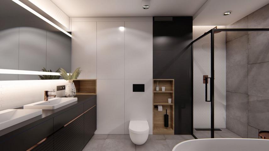 Duża łazienka z dużym, prostokątnym prysznicem typu walk - in