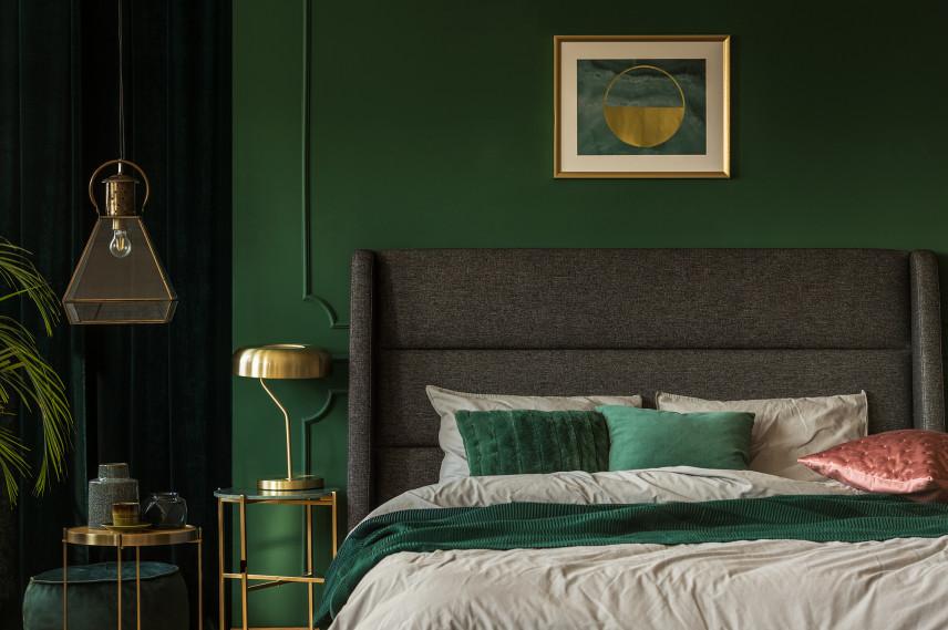 Klasyczna zielona sypialnia