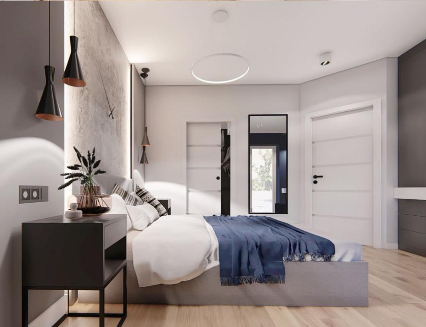 Sypialnia z modnym oświetleniem