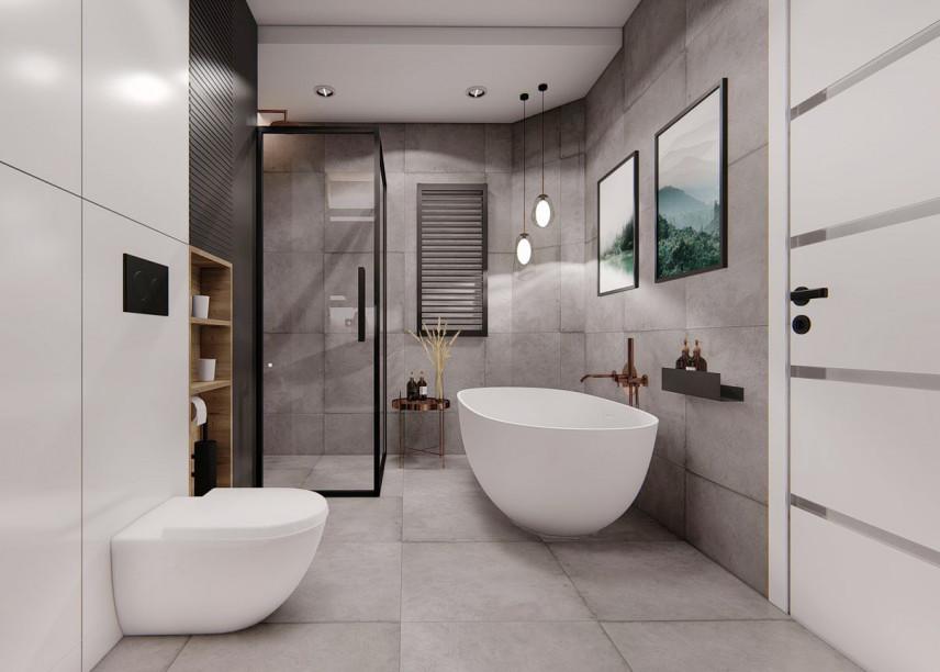Aranżacja łazienki z wanną owalną, wolnostojącą