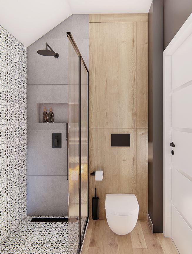 Mała kontrastowa łazienka z prysznicem typu walk - in