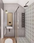 Aranżacja łazienki z szarymi płytkami i drewnianą podłogą