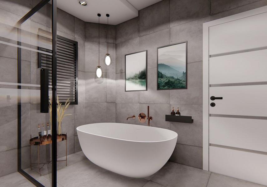 Łazienka w szarościach z wanną owalną