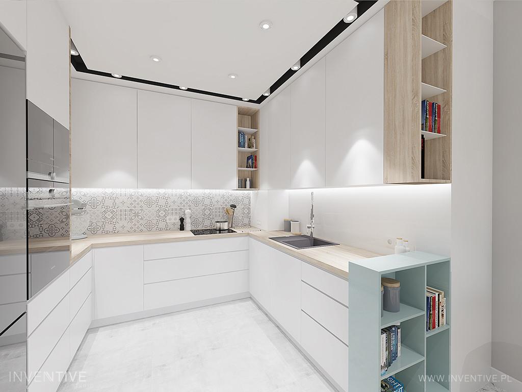 Aranżacja kuchni w kształcie litery U z białymi frontami