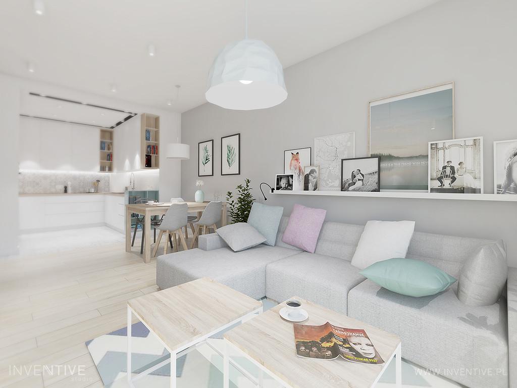 Salon z białą półka zamontowaną na szarej ścianie