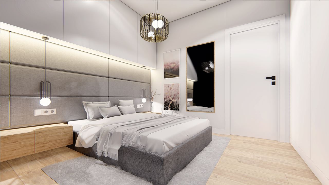 Przestrzenna sypialnia z tapicerowaną ścianą i łóżkiem kontynentalnym