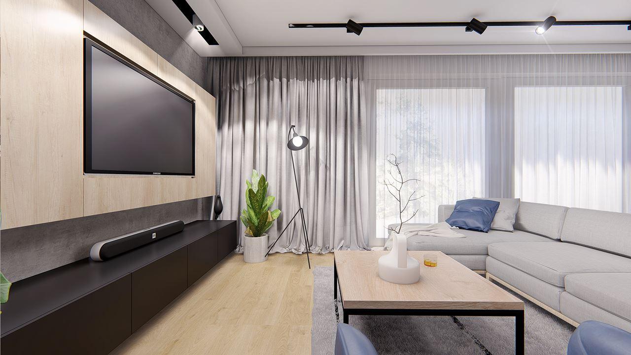 Salon z dużym telewizorem na drewnianej ścianie