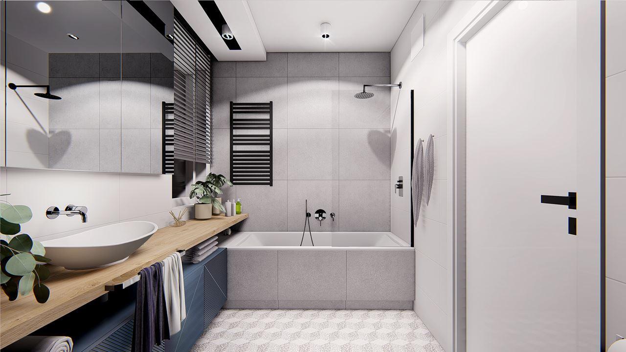 Łazienka z wanną i funkcją prysznica