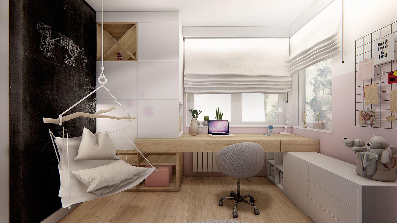 Pokój dziecięcy z huśtawką, z biurkiem przy oknie