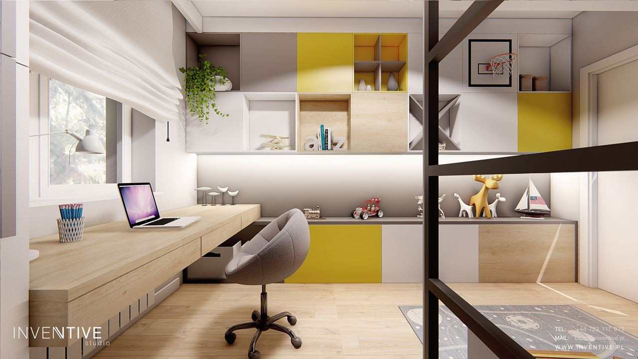 Pokój nastolatki z biurkiem przy oknie, meblami