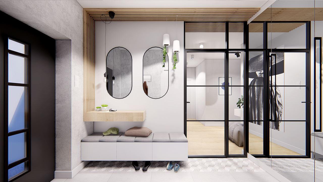 Przedpokój z siedziskiem i elementami drewna na ścianie