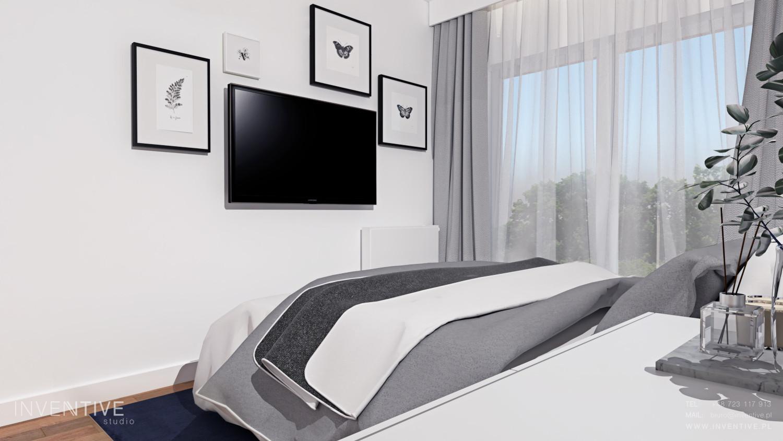 Słoneczna sypialnia z firanami i szarymi zasłonami