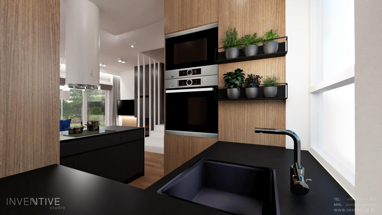 Kuchnia z czarnym blatem