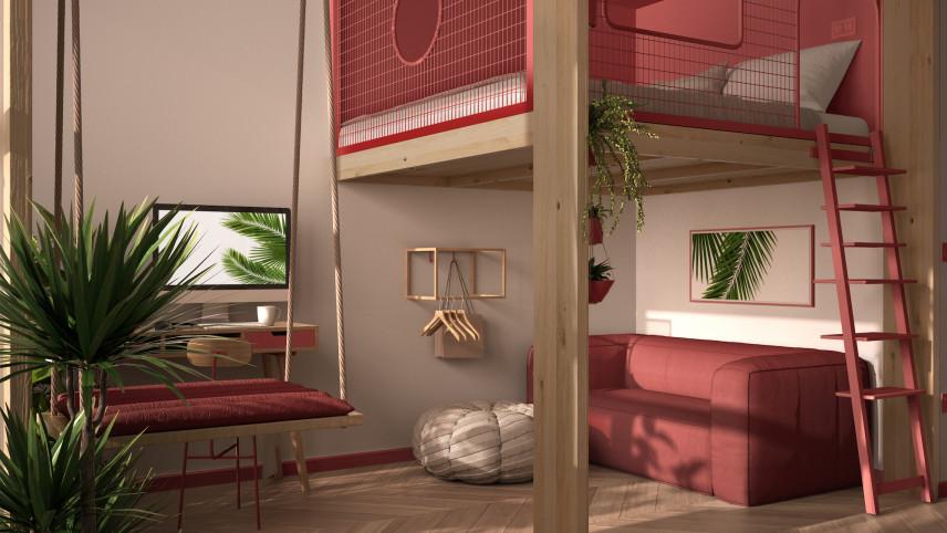 Pokój nastolatki szaro-różowy