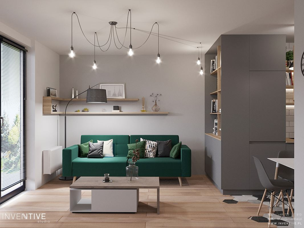 Mały, klimatyczny salon z zieloną sofą
