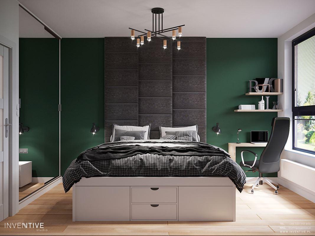Sypialnia z białym łóżkiem kontynentalnym z możliwością przechowywania rzeczy