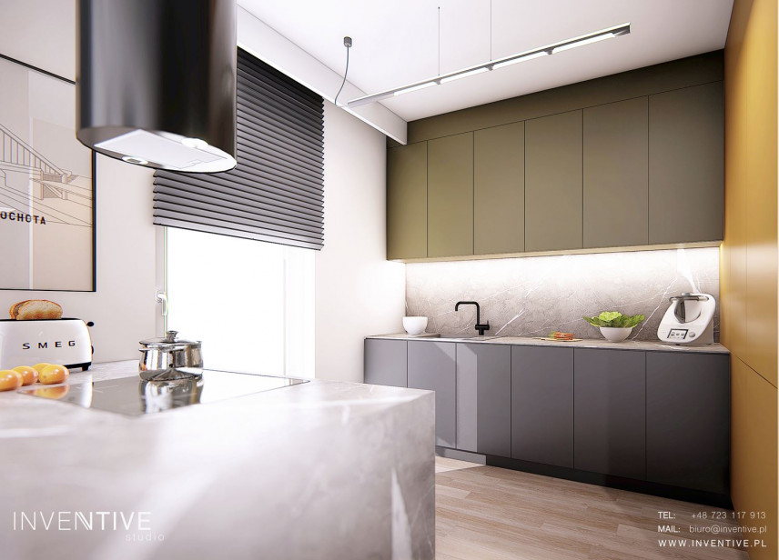 Projekt kuchni otwartej z barem i czarnym okapem