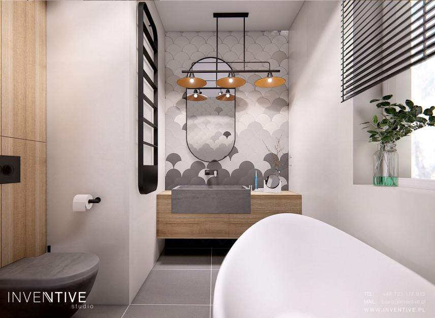 Projekt łazienki z wanną i drewnianą szafką wiszącą
