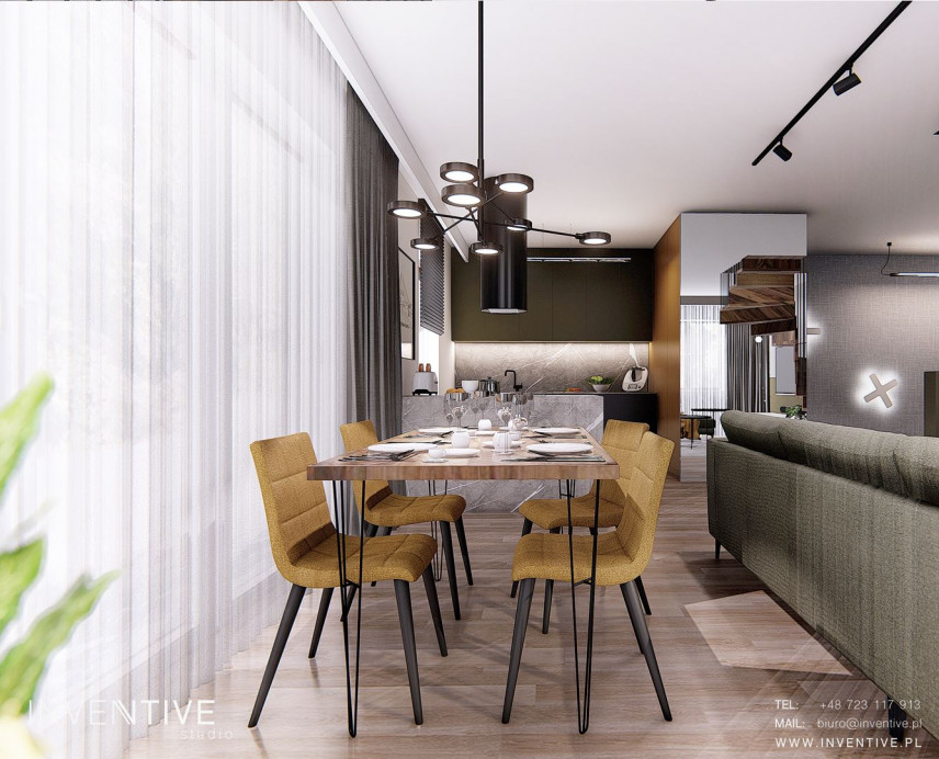 Projekt jadalni z designerskim stołem drewnianym