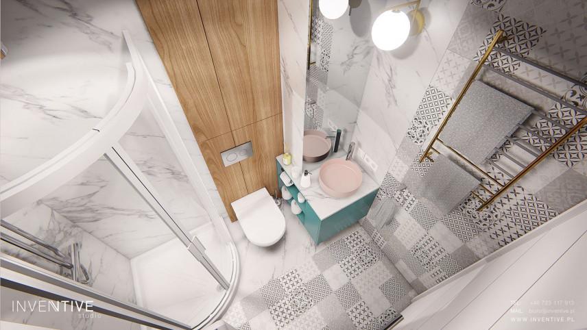 Mała łazienka z prysznicem narożnym